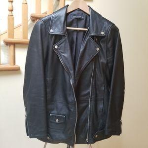 Zara Long 100% Sheep Leather Moto Biker Jacket S